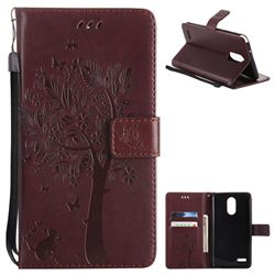 Embossing Butterfly Tree Leather Wallet Case for LG Stylo 3 Plus / Stylus 3 Plus - Coffee
