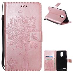 Embossing Butterfly Tree Leather Wallet Case for LG Stylo 3 Plus / Stylus 3 Plus - Rose Pink