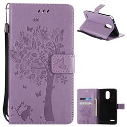 Embossing Butterfly Tree Leather Wallet Case for LG Stylo 3 Plus / Stylus 3 Plus - Violet