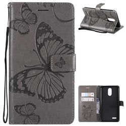 Embossing 3D Butterfly Leather Wallet Case for LG Stylo 3 Plus / Stylus 3 Plus - Gray