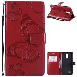 Embossing 3D Butterfly Leather Wallet Case for LG Stylo 3 Plus / Stylus 3 Plus - Red