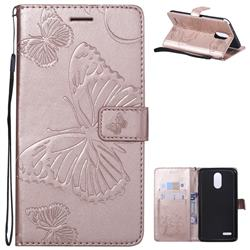 Embossing 3D Butterfly Leather Wallet Case for LG Stylo 3 Plus / Stylus 3 Plus - Rose Gold