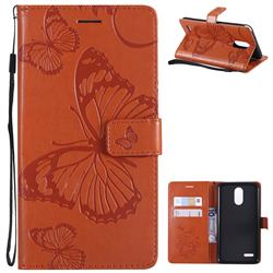 Embossing 3D Butterfly Leather Wallet Case for LG Stylo 3 Plus / Stylus 3 Plus - Orange