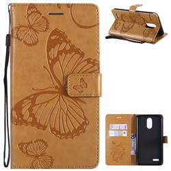 Embossing 3D Butterfly Leather Wallet Case for LG Stylo 3 Plus / Stylus 3 Plus - Yellow