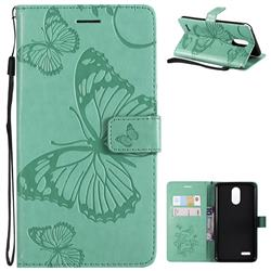 Embossing 3D Butterfly Leather Wallet Case for LG Stylo 3 Plus / Stylus 3 Plus - Green
