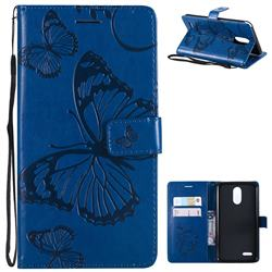 Embossing 3D Butterfly Leather Wallet Case for LG Stylo 3 Plus / Stylus 3 Plus - Blue