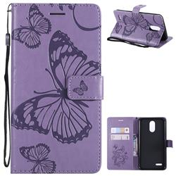 Embossing 3D Butterfly Leather Wallet Case for LG Stylo 3 Plus / Stylus 3 Plus - Purple