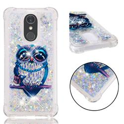 Sweet Gray Owl Dynamic Liquid Glitter Sand Quicksand Star TPU Case for LG Stylo 4