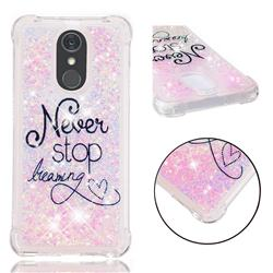 Never Stop Dreaming Dynamic Liquid Glitter Sand Quicksand Star TPU Case for LG Stylo 4