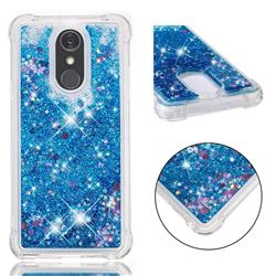 Dynamic Liquid Glitter Sand Quicksand TPU Case for LG Stylo 4 - Blue Love Heart