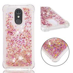 Dynamic Liquid Glitter Sand Quicksand TPU Case for LG Stylo 4 - Rose Gold Love Heart