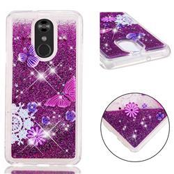 Purple Flower Butterfly Dynamic Liquid Glitter Quicksand Soft TPU Case for LG Stylo 4