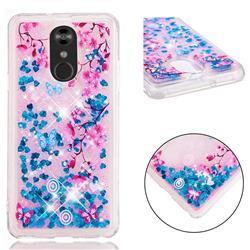Blue Plum Blossom Dynamic Liquid Glitter Quicksand Soft TPU Case for LG Stylo 4