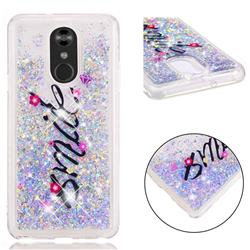Smile Flower Dynamic Liquid Glitter Quicksand Soft TPU Case for LG Stylo 4