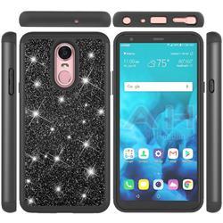 Glitter Rhinestone Bling Shock Absorbing Hybrid Defender Rugged Phone Case Cover for LG Stylo 4 - Black