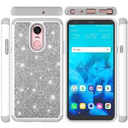 Glitter Rhinestone Bling Shock Absorbing Hybrid Defender Rugged Phone Case Cover for LG Stylo 4 - Gray