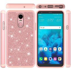 Glitter Rhinestone Bling Shock Absorbing Hybrid Defender Rugged Phone Case Cover for LG Stylo 4 - Rose Gold