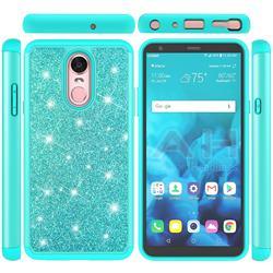 Glitter Rhinestone Bling Shock Absorbing Hybrid Defender Rugged Phone Case Cover for LG Stylo 4 - Green