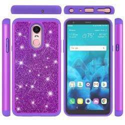Glitter Rhinestone Bling Shock Absorbing Hybrid Defender Rugged Phone Case Cover for LG Stylo 4 - Purple
