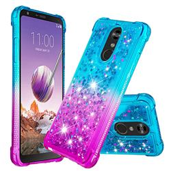 Rainbow Gradient Liquid Glitter Quicksand Sequins Phone Case for LG Stylo 4 - Blue Purple
