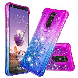 Rainbow Gradient Liquid Glitter Quicksand Sequins Phone Case for LG Stylo 4 - Purple Blue