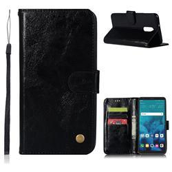 Luxury Retro Leather Wallet Case for LG Stylo 4 - Black