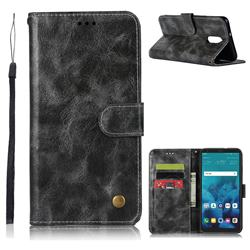 Luxury Retro Leather Wallet Case for LG Stylo 4 - Gray