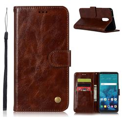 Luxury Retro Leather Wallet Case for LG Stylo 4 - Brown