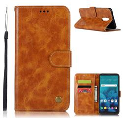 Luxury Retro Leather Wallet Case for LG Stylo 4 - Golden