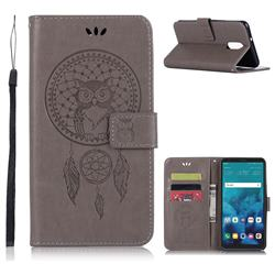 Intricate Embossing Owl Campanula Leather Wallet Case for LG Stylo 4 - Grey