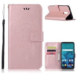 Intricate Embossing Owl Campanula Leather Wallet Case for LG Stylo 4 - Rose Gold