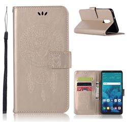 Intricate Embossing Owl Campanula Leather Wallet Case for LG Stylo 4 - Champagne
