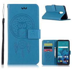 Intricate Embossing Owl Campanula Leather Wallet Case for LG Stylo 4 - Blue