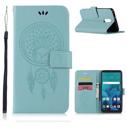 Intricate Embossing Owl Campanula Leather Wallet Case for LG Stylo 4 - Green