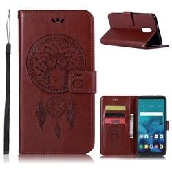 Intricate Embossing Owl Campanula Leather Wallet Case for LG Stylo 4 - Brown