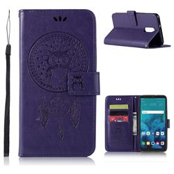 Intricate Embossing Owl Campanula Leather Wallet Case for LG Stylo 4 - Purple