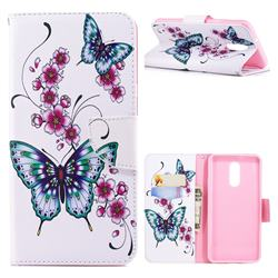 Peach Butterfly Leather Wallet Case for LG Stylo 4