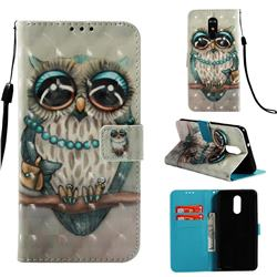 Sweet Gray Owl 3D Painted Leather Wallet Case for LG Stylo 4