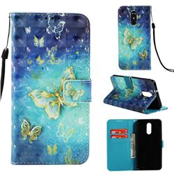 Gold Butterfly 3D Painted Leather Wallet Case for LG Stylo 4
