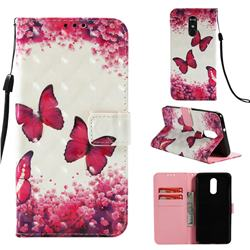 Rose Butterfly 3D Painted Leather Wallet Case for LG Stylo 4