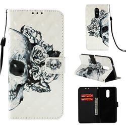 Skull Flower 3D Painted Leather Wallet Case for LG Stylo 4