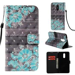 Blue Flower 3D Painted Leather Wallet Case for LG Stylo 4