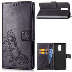 Embossing Imprint Four-Leaf Clover Leather Wallet Case for LG Stylo 4 - Black