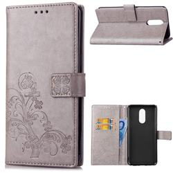 Embossing Imprint Four-Leaf Clover Leather Wallet Case for LG Stylo 4 - Grey