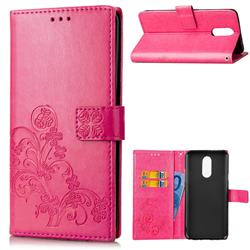 Embossing Imprint Four-Leaf Clover Leather Wallet Case for LG Stylo 4 - Rose