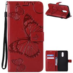 Embossing 3D Butterfly Leather Wallet Case for LG Stylo 4 - Red