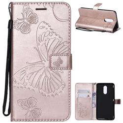 Embossing 3D Butterfly Leather Wallet Case for LG Stylo 4 - Rose Gold