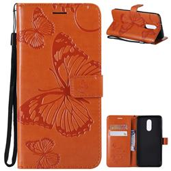 Embossing 3D Butterfly Leather Wallet Case for LG Stylo 4 - Orange