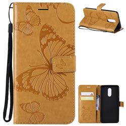 Embossing 3D Butterfly Leather Wallet Case for LG Stylo 4 - Yellow