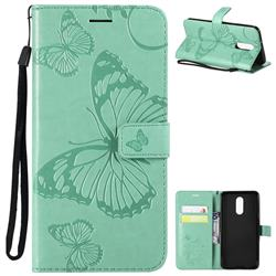 Embossing 3D Butterfly Leather Wallet Case for LG Stylo 4 - Green